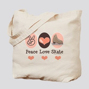 Peace Love Skate Ice Skating Tote Bag